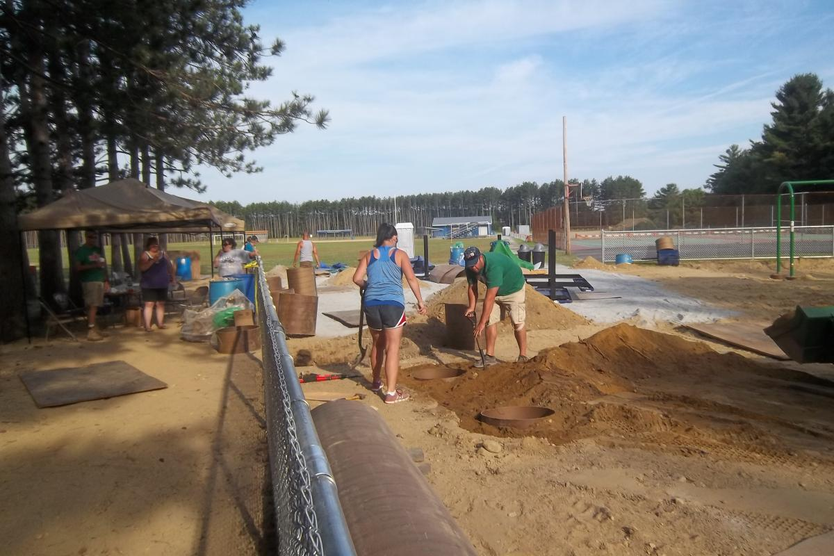 Digging holes for the sona tubes